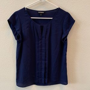 Express dark blue short sleeve blouse